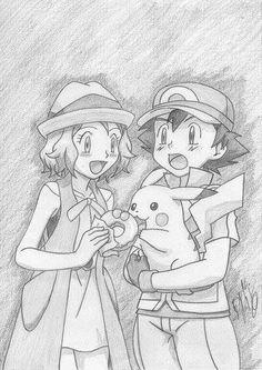 from XY Movie ©Satoshi Tajiri/Nintendo XY - Serena x Satoshi x Pikachu Old Pokemon, First Pokemon, Pokemon Fan, Draw Pokemon, Pikachu Art, Pokemon Ash And Serena, Satoshi Tajiri, Pokemon Movies, Micro Lego