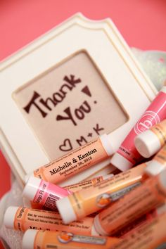 Cute Wedding Favor!  Chapsticks with their name and date on them #wedding #favor #lipbalm #Pink #Peach