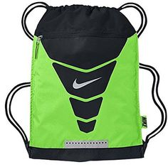 Nike Vapor Drawstring Gymsack Backpack 400 Denier Sport Bookbag (Neon Glow Green and Black/ with Signature Metallic Swoosh) *** Click image to review more details.