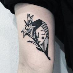 Woman + flower tattoo by Greem. southkorean blackwork edged geometric Greem woman flower