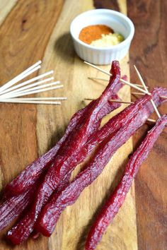 The rich meat flavor and the sweetness of the brown sugar makes this jerky a real crowd pleaser! Homemade Beef Jerky, Homemade Sausage Recipes, Venison Recipes, Brown Sugar Beef Jerky Recipe, Deer Jerky Recipe, Jerky Seasoning Recipe, Oven Jerky, Jerkey Recipes, Jerky Marinade