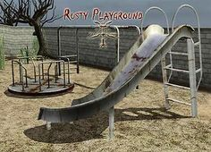 Mod The Sims - Rusty Playground Sims 2, Sims 4 Mods, Sims 4 Challenges, Playground Slide, Jungle Gym, Sims 4 Build, Sims 4 Houses, Urban Industrial, Ts4 Cc