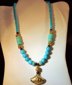 Necklace Handmade Genuine Turquoise Lapis by StoneForestJewels, $52.00