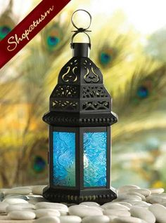 Cobalt Blue Glass Moroccan Metal Candle Lantern Centerpiece  www.shopatusm.com