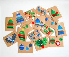 These colorful felt cards.   23 DIY Christmas Cards You Can Make In Under An Hour