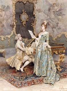 Rococo Painting, Victorian Paintings, Victorian Art, Victorian History, Victorian Bedroom, Romantic Paintings, Classic Paintings, Beautiful Paintings, European Paintings