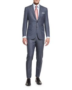 "Brioni ""Colosseo"" two-piece suit in mini-chevron. Notch lapel; two-button front. Basted sleeves. Front flap pockets; chest welt pocket. Double-vented back. Unfinished flat-front trousers to be tailore"