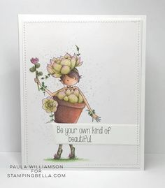 www.stampingbella.com: rubber stamp used: SUSIE the SUCCULENT card by PAULA WILLIAMSON