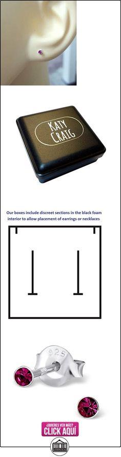 Pendientes Extra Pequeño 2mm (diminuto) Redondo Plata Esterlina con Piedras Cristal Rosa - Surtido en Caja de Regalo  ✿ Joyas para mujer - Las mejores ofertas ✿ ▬► Ver oferta: https://comprar.io/goto/B00H3QT8CK