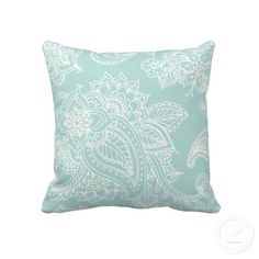 Mint Illustrated Bohemian Paisley Henna Throw Pillows