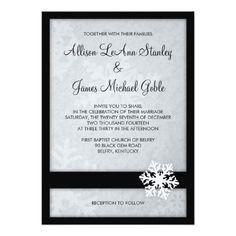 "Snowflake Winter Wedding Invitation - Black, White 5"" X 7"" Invitation Card"