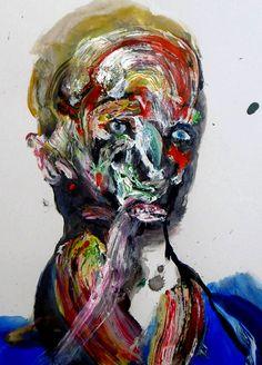 PARANOID HEAD (detail) 2017 portrait painting.