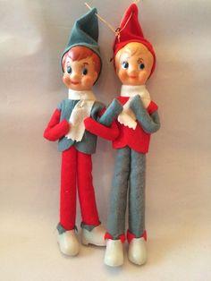Christmas Elves Pixies Kneehuggers Ornaments Linked Arms Japan Vintage 1960s