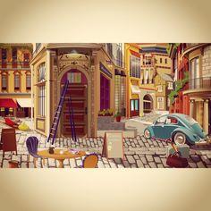 Парижская улочка ранним летним утром. Чашечка ароматного кофе с корицей.