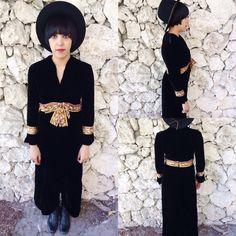 Vintage 60s Black Velvet Witchy Mod Empire Waist w/ Long Fitted Bell Sleeves Front Slit Maxi Dress M // L $75.00 https://www.etsy.com/listing/222793226/vintage-60s-black-velvet-witchy-mod?ref=shop_home_active_1