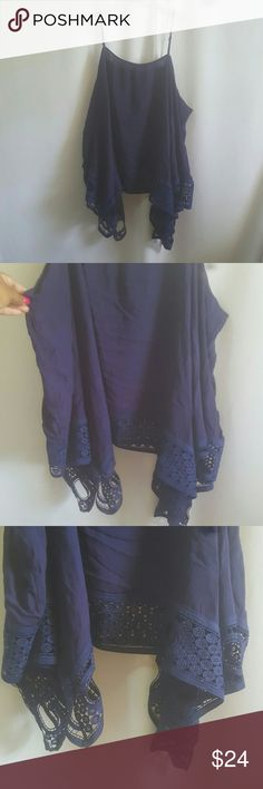 Make Offer Tunic Top Plus Size New never worn without tag * Tunic top with crochet details * Adjustable straps  * Color navy blue  * Oversized fit Tops Blouses