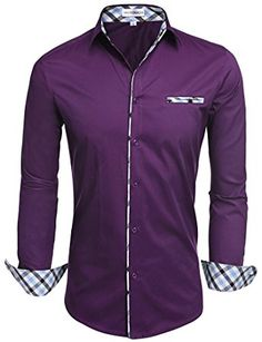 """HOTOUCH Mens Slim Fit Dress Shirt Long Sleeve Casual Shirt Wine Red XL: Pls choose """"Sold by Bestmallskt"""", otherwise, we can't garantee the quality ! brPlease check the size chart of men casual shirts as below:brType brS: brM: S brL: brXL: . Slim Fit Casual Shirts, Formal Shirts For Men, Slim Fit Dress Shirts, Stylish Shirts, Slim Fit Dresses, Fitted Dress Shirts, Long Sleeve Shirt Dress, Casual Button Down Shirts, Long Sleeve Shirts"""