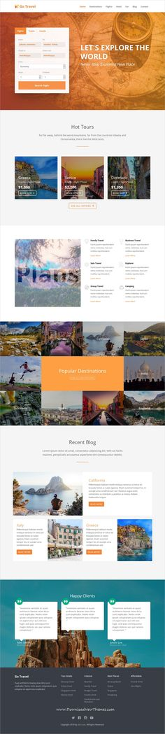 Go Travel is a clean and modern design responsive #bootstrap HTML #template for #travel agencies website to download & live preview click on image or Visit #webdesign