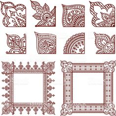 design To Draw Corner - A series of corner designs plus two finished frames Inspired by the art of mehndi Henna Doodle, Henna Art, Hand Henna, Henna Hands, Henna Tattoo Designs, Mehandi Designs, Henna Tattoos, Paisley Tattoos, Henna Designs Drawing