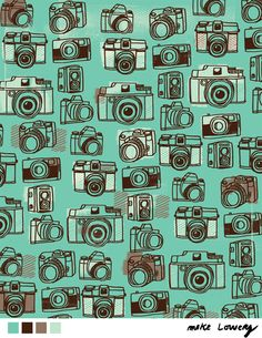 Cameras pattern by Mike Lowery at Lilia Rogers. Might be useful for my arts project~ ^^ Surface Pattern, Surface Design, Camera Art, Camera Drawing, Toy Camera, Camera Illustration, Cute Patterns Wallpaper, Old Cameras, Pretty Patterns