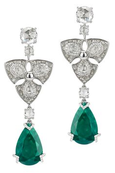Avakian. Pear shape emerald earrings as worn by Petra Mencova at the Cannes Film Festival 2012