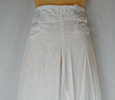 Womens High Waist Wide Leg Sailor Pants White 1980s
