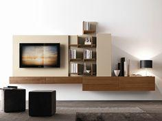 Módulo de arrumação de parede secional de nogueira com suporte para TV CF49 Coleção Modus by Presotto Industrie Mobili   design Pierangelo Sciuto