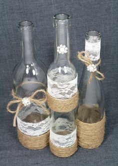 SET(3) Decorated Wine Bottle Centerpiece. Rustic Chic Ivory, Silver, Jute Twine. Jute Wrapped Bottles. Rustic Wedding Centerpiece Idea. by lindsay0 #decoratedwinebottles