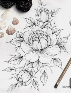 55 Simple Small Flowers Tattoos Drawing Tattoos Ideas For Women This Season flower tattoos Tattoos Kunst Tattoos, Bild Tattoos, Cute Tattoos, Beautiful Tattoos, Body Art Tattoos, Tattoos Skull, Tatoos, Peony Drawing, Floral Drawing