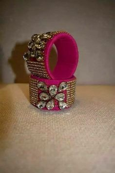 kundan and stone ailk thread bangle