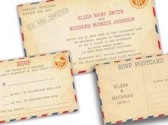 AIRMAIL WEDDING Invitations VINTAGE Printable Diy - Philadelhia Suite (invitation and rsvp postcard) by Elisa H.