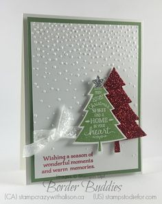 Border Buddies Sketch BB002, Peaceful Pines, stamp set & Perfect Pines Framelits www.stampstodiefor.com