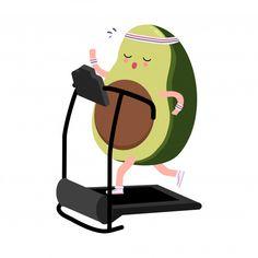 Cute avocado exercise running on treadmi. Avocado Cafe, Fruit Doodle, Avocado Cartoon, Yogurt Packaging, Brain Art, Fitness Icon, Cute Avocado, Watermelon Mint, Blog Planning