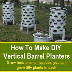 How To Build DIY Vertical Barrel Planters - Garden Tips and Tricks Vertical Vegetable Gardens, Indoor Vegetable Gardening, Hydroponic Gardening, Container Gardening, Organic Gardening, Gardening Vegetables, Gardening Tips, Vegetable Bed, Vertical Farming