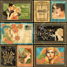 Vintage Hollywood horizontal Journaling & Ephemera Cards (these will come pre-cut!)