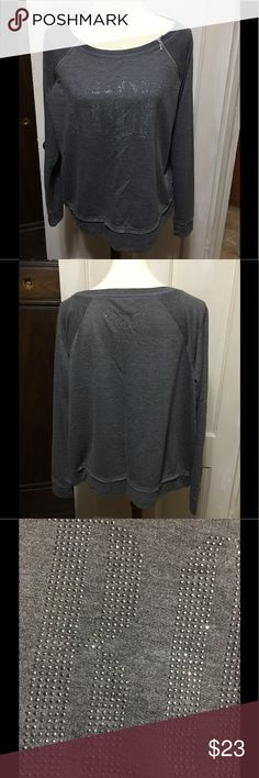 """🌺🌺Two Toned Gray ROCK Top🌺🌺NWOT🌺🌺 This top looks like a sweatshirt, but is EXTREMELY SOFT and lightweight.  It has the word ROCK on the front and a floral design on the back composed of little sparkly studs. Top also has two zippers at the front neckline, long sleeves and rough cut bands at hips and wrists.  Pit to pit is 22 1/2"""" and shoulder to hem is 24"""". 🌺🌺🌺 Rock & Republic Tops"""