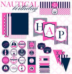 Nautical Birthday Party PRINTABLE Full Collection by by lovetheday, $45.00...now in navy & pink!!
