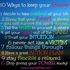 10 ways to keep your personal POWER!
