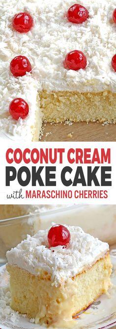 Print Coconut Cream Poke Cake Recipe Prep Time: 10 minutes Cook Time: 30 minutes Total T Cupcakes, Cupcake Cakes, Poke Cake Recipes, Dessert Recipes, Meat Recipes, Easy Desserts, Delicious Desserts, Cold Desserts, Coconut Poke Cakes