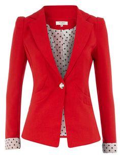 Red blazer with polka dot. So cute!