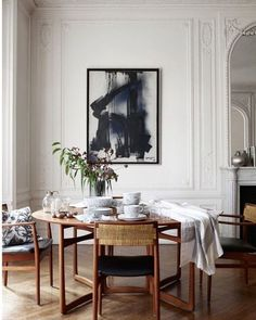 Minimal new midcentury modern white neutral monochrome palette dining room French Parisian apartment(Mix Wood Interior) Room Makeover, Room Design, Interior, Minimalist Dining Room, Dining Room French, House Interior, Apartment Decor, Scandinavian Dining Room, Interior Design