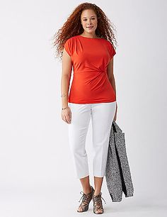 Draping at the shoulder and waist take this tee beyond basic. lanebryant.com