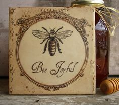 French Bee Painting Cottage Vintage Inspirational Honeybee Encaustic