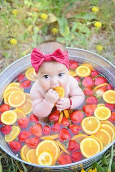 Being a Orange County child photographer has it perks of almost always having great weather. Fruit baths have quickly become the new craze w. 6 Month Baby Picture Ideas, Baby Girl Pictures, Newborn Pictures, Baby Milk Bath, Monthly Baby Photos, Foto Baby, Shooting Photo, Newborn Baby Photography, Baby Milestones