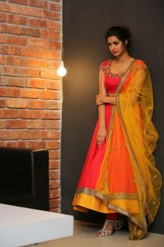 Reputable orange gerogette Designer anarkali salwar suit comes Orange color bottom with yellow color net dupatta. It contained the work of Embroidery . The suit size can be customized up to bust size 44 Salwar Designs, Half Saree Designs, Kurti Designs Party Wear, Blouse Designs, Churidhar Designs, Dress Designs, Indian Designer Outfits, Indian Outfits, Designer Dresses