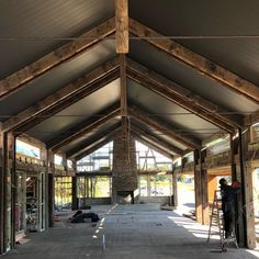 The exposed beams you see here were wharf timbers we salvaged from the old Victoria Docks in Melbourne. Now, they will be one of the feature elements of this wonderful living space in Berry, NSW. The Berry project by Saltbox Building.   #recycledtimbermelbourne #reclaimedtimber  #sustainablebuilding #greenbuilding #nsw  #australiantimber #historictimber #timberhouse #recycled #modernarchitecture #architecture #homedesign #melbournetimber #wharftimber