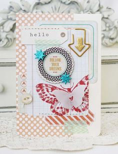 """Page with """"Follow Your Dreams,"""" butterfly, tag, & arrow clip."""