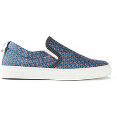 Fefè 'Africa' slip-on sneakers ($94) ❤ liked on Polyvore featuring shoes, sneakers, blue, slip-on sneakers, unisex shoes, leather sneakers, leather trainers and blue shoes