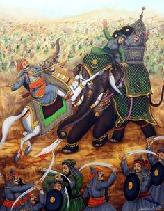 Pratap and Man Singh came face to face in the battle of Haldighati. Pratap hurling his spear at Man Singh. However, Man Singh was saved but his mahut died Ancient Indian History, History Of India, Military Art, Military History, Freedom Fighters Of India, War Elephant, Shivaji Maharaj Hd Wallpaper, Warriors Wallpaper, Great Warriors