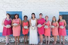 Pink mismatched bridesmaids - each of them picked their own dress!